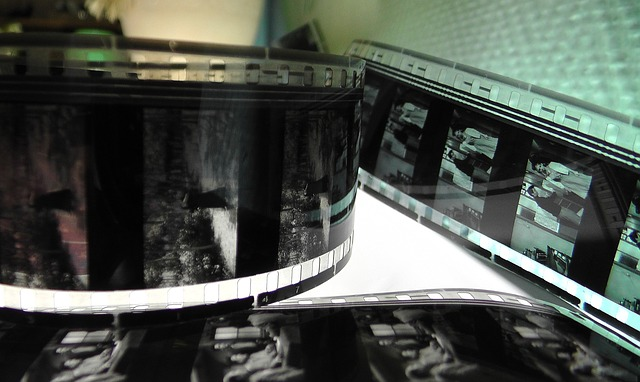 picture of strips of black and white 8mm film