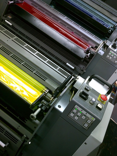 picture showing a four color offset printing machine